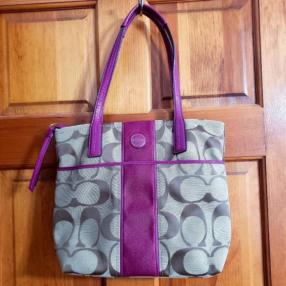 Coach Handbags - COACH (authentic) Signature Striped Tote